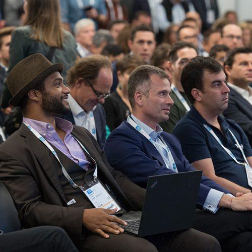 Photo au cours d'une conférence du MIPIM. Le MIPIM 2018 réunit les principaux acteurs de l'immobilier mondial à Cannes, pour construire le monde de demain