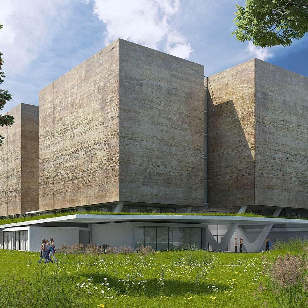 Illustration 3D des nouvelles archives départementales de l'Isère vue de côté
