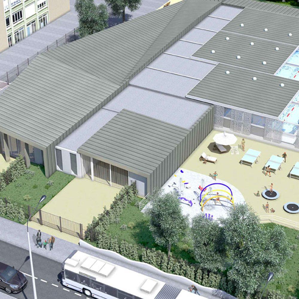 Image 3D du projet à Vaulx en Velin de la piscine Jean Gelet