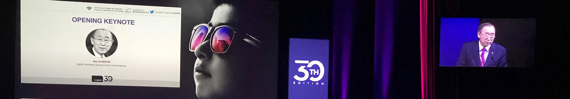 photo de Ban Ki-Moon lors de son discours d'ouverture du Mipim 2019 auquel aw-eck - ingénierie TCE - a assisté.