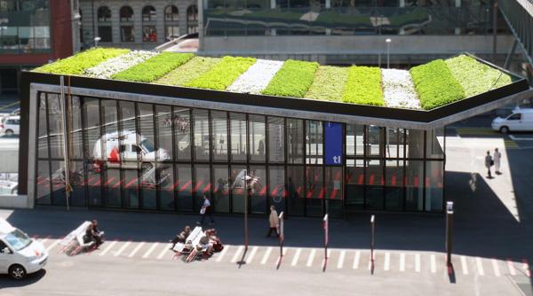 Toit végétalisé d'un arret de métro en Suisse