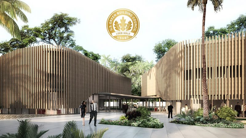 Photo de l'ambassade de France au Kenya estampillée du certificat LEED gold